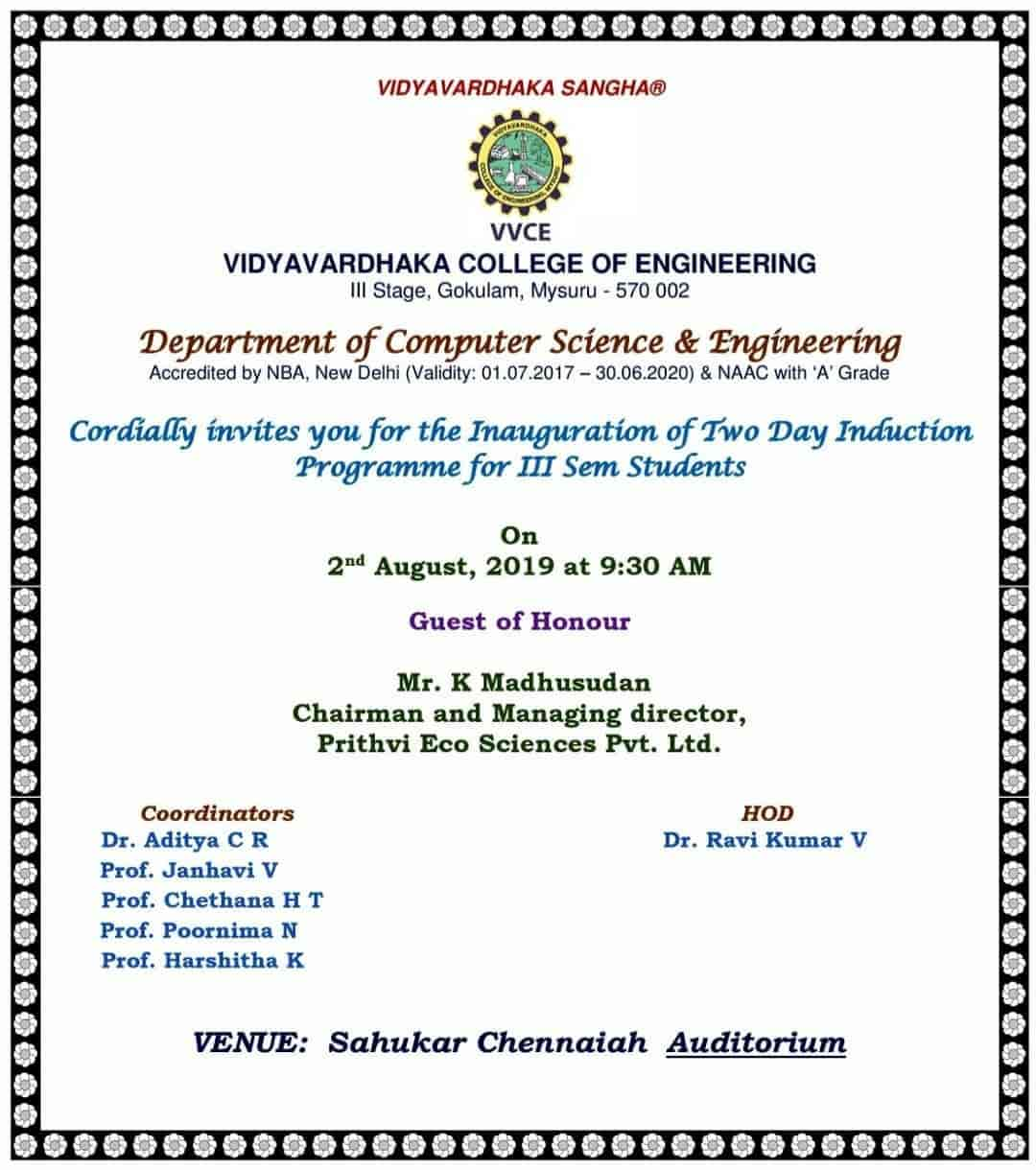 Vidyavardhaka College Of Engineering, Gokulam - Engineering