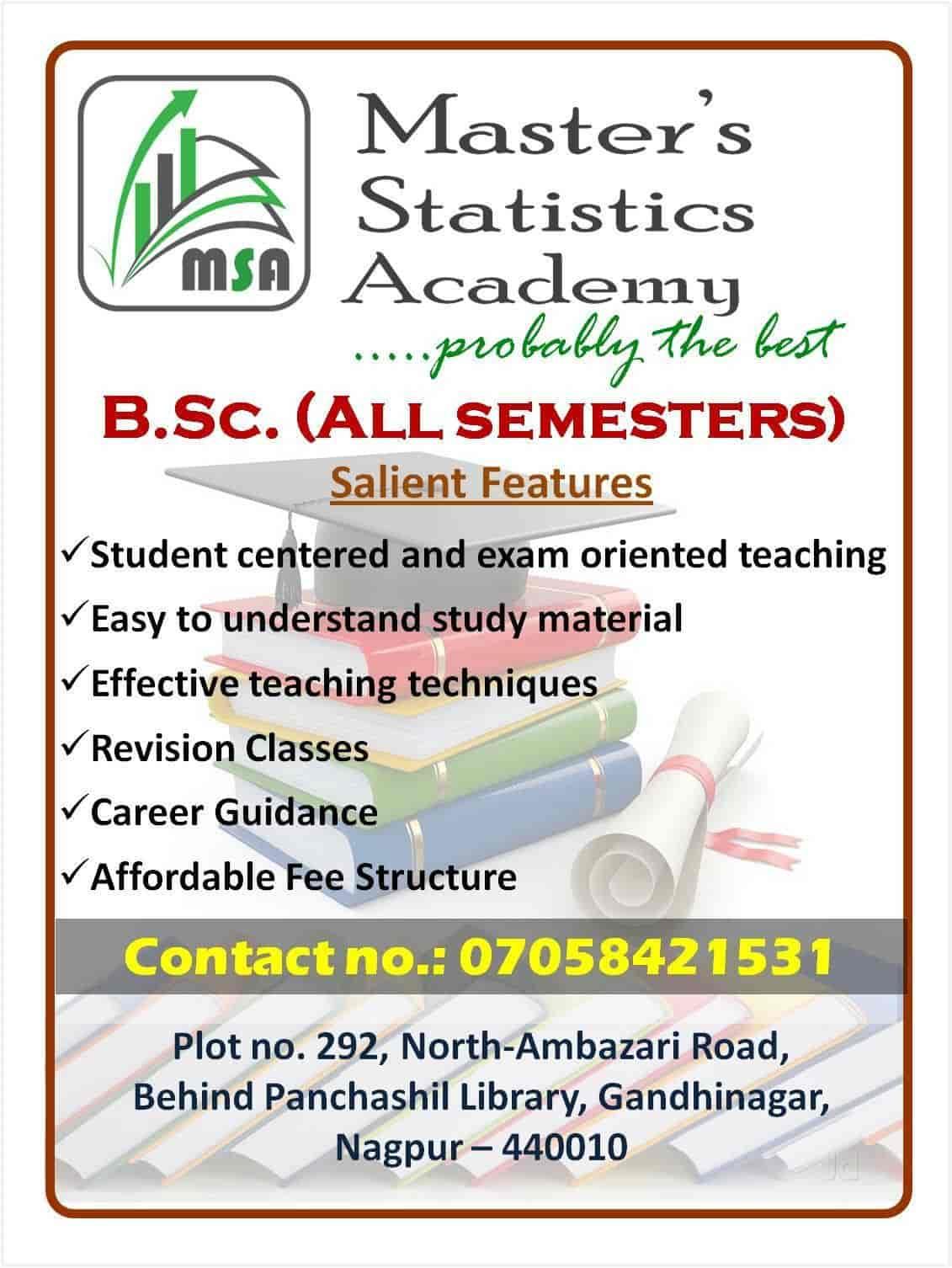 Master's Statistics Academy, Gandhi Nagar - Tutorials For BSc in