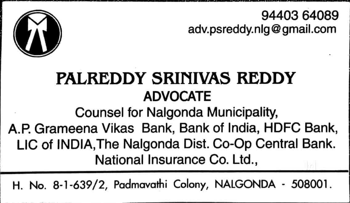 Palreddy Srinivas Reddy, Housing Board Colony - Lawyers in