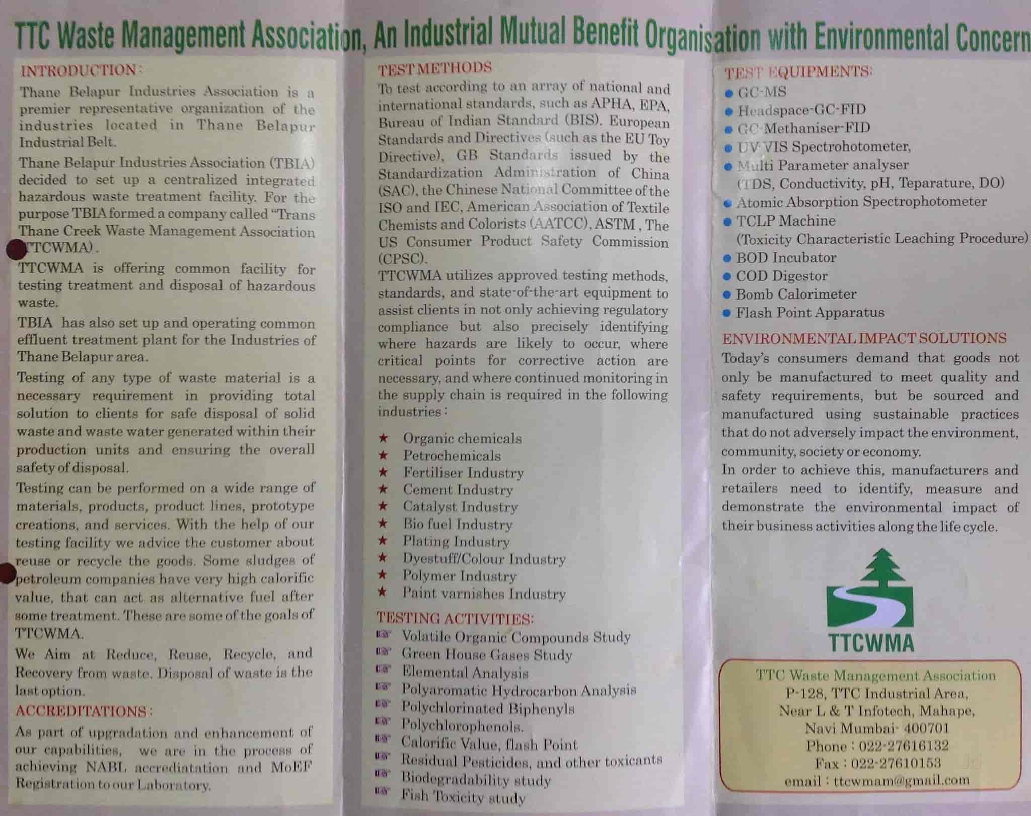 Trans Thane Creek Waste Management Association, Mahape - Laboratory