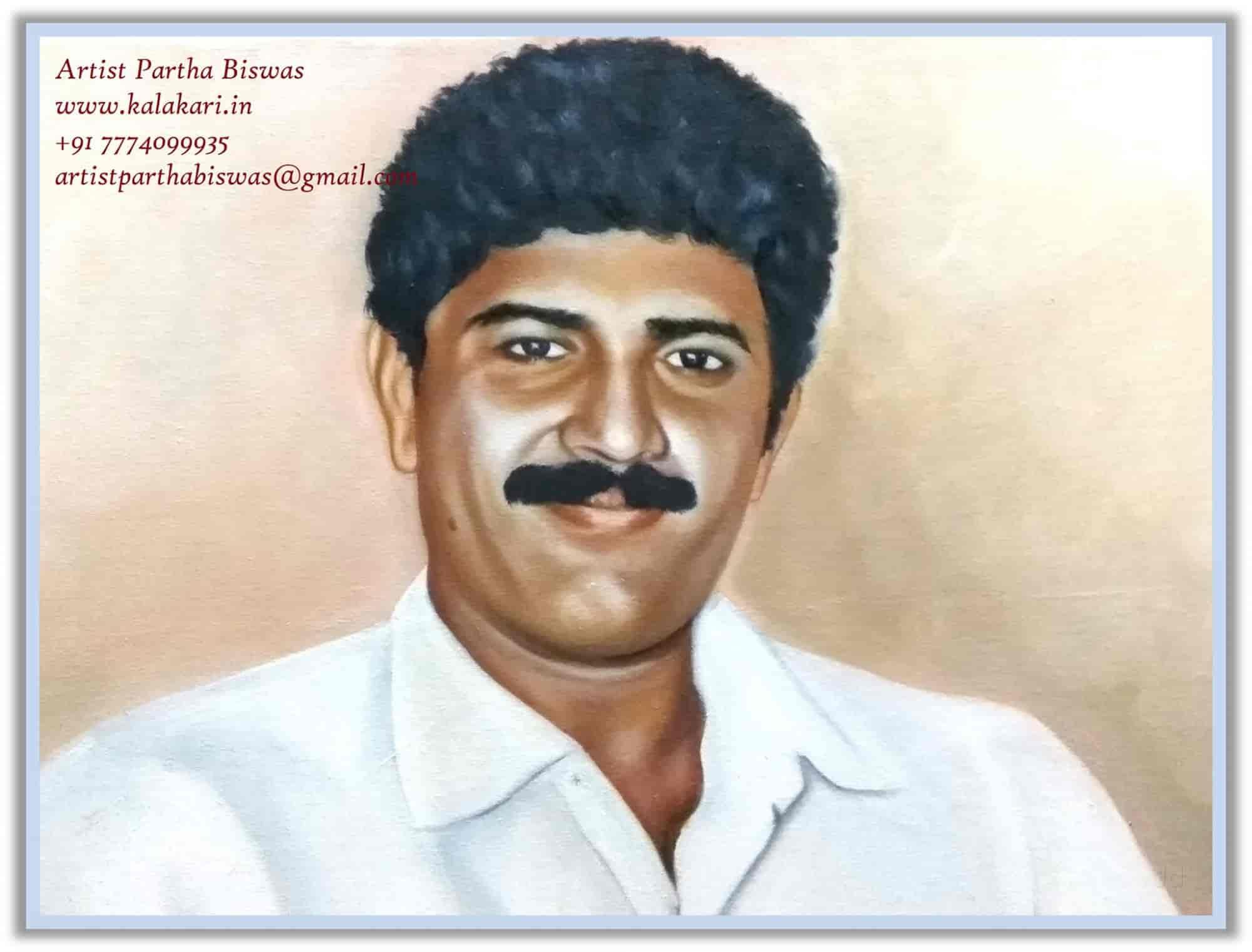 Realistic Portrait Canvas Painting Kalakari Dot In Dapodi Potrait