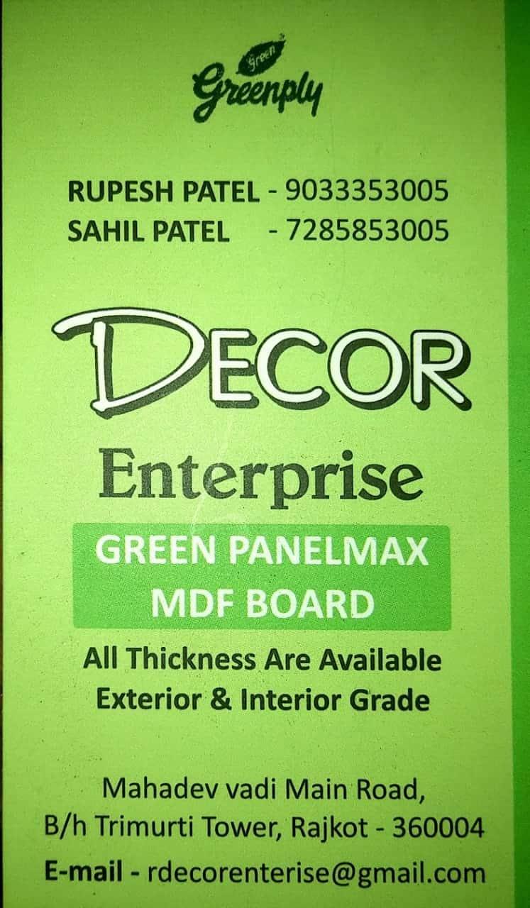 Decor Enterprise Laxmiwadi Main Road Plywood Dealers In Rajkot