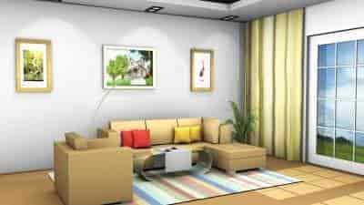 3D Living Room Model View