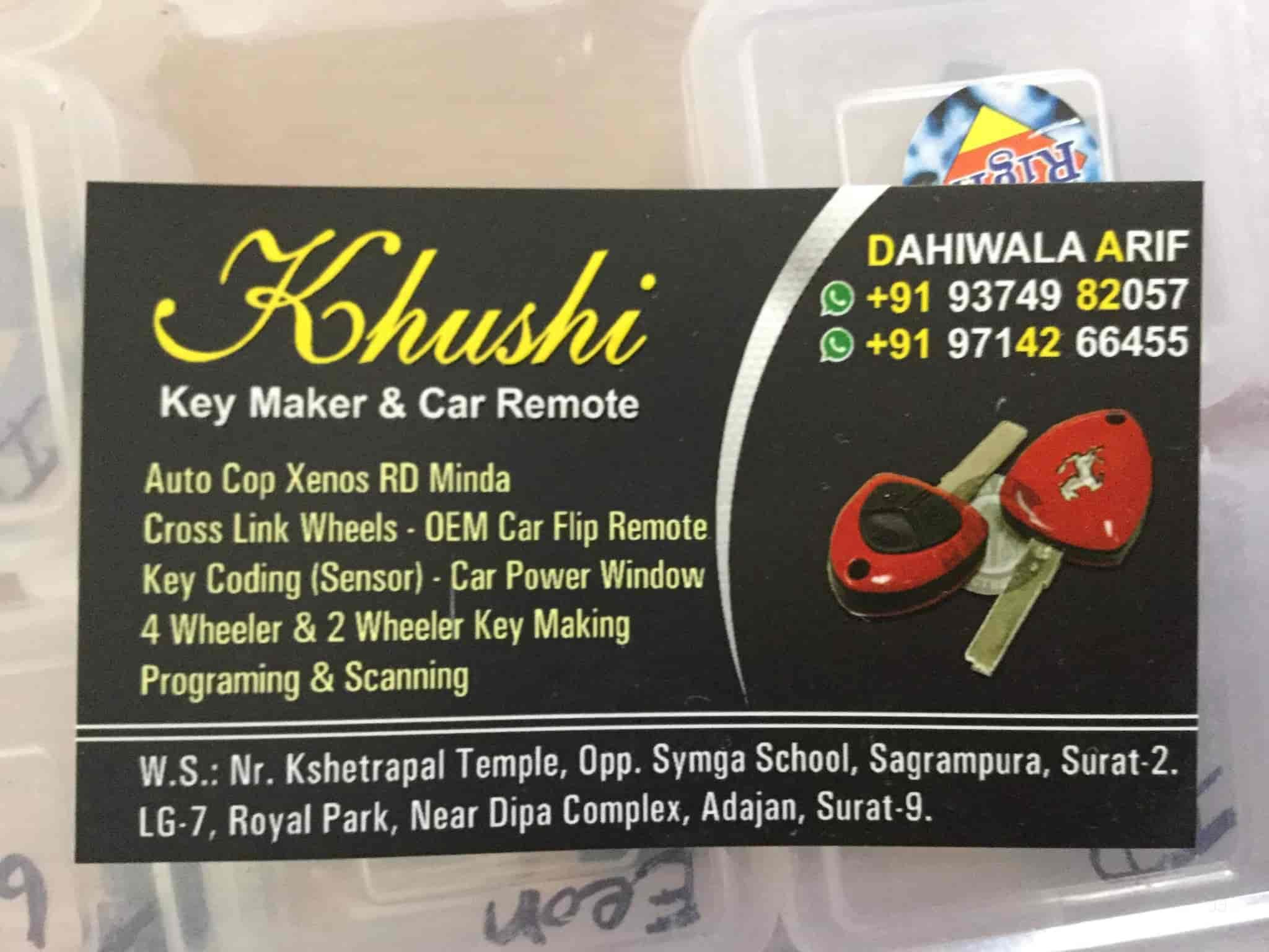 Khushi Car Remote and Key Makers, Adajan Dn - Duplicate Key