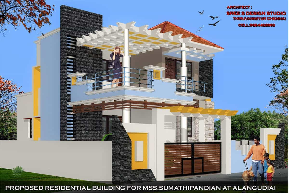... Residential Building Elevation Design   Sree S Design Studio Photos,  Gandhinagar, Tirupur   Architects ...