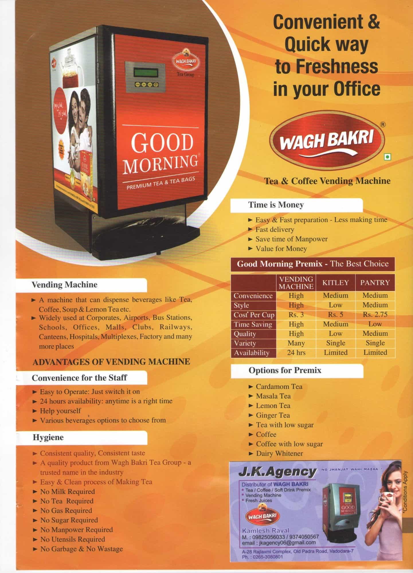 J K Agency Akota Tea Coffee Vending Machine Dealers In Vadodara