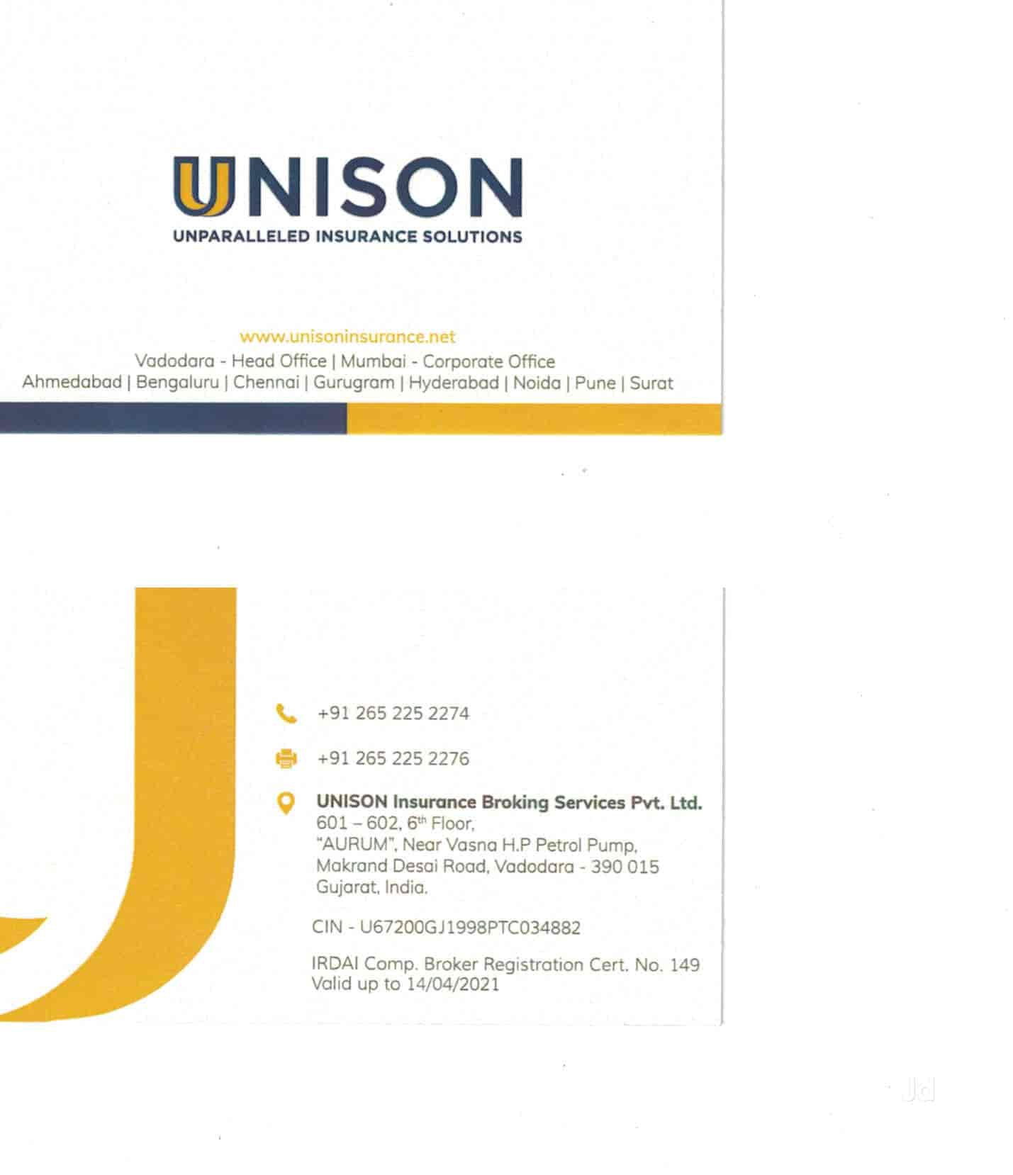 Unison Insurance Broking Services Pvt Ltd, Vasna Road