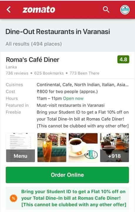 Roma's Cafe Diner, Lanka, Varanasi - Continental, Italian, North